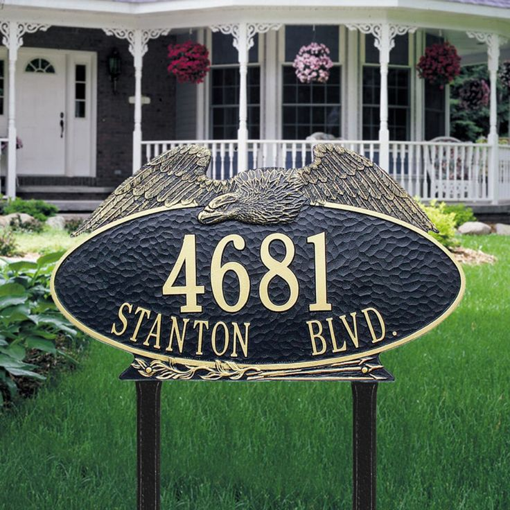 Eagle address plaque oval estate lawn 2 line whitehall