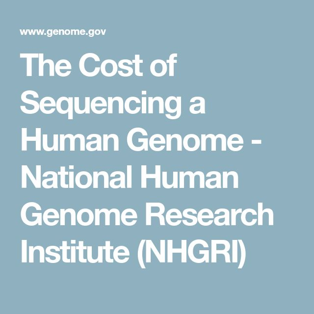 The Cost of Sequencing a Human Genome - National Human Genome Research Institute (NHGRI)