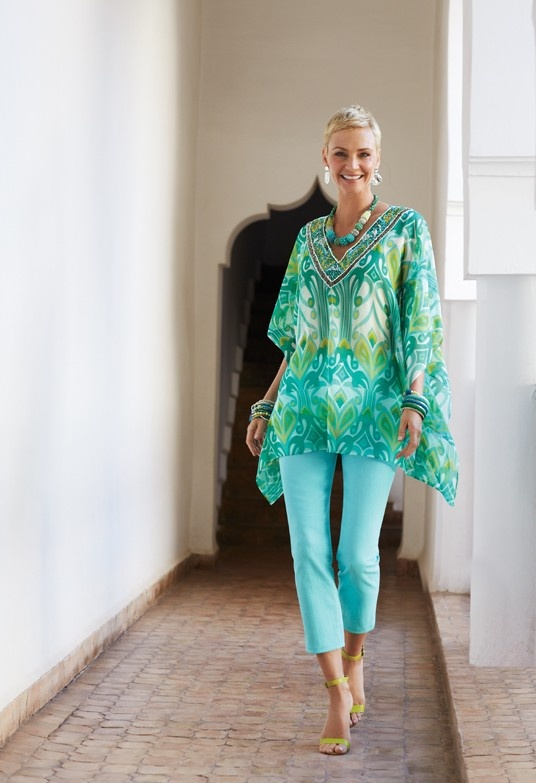 Pattern Play: Turquoise, Greens, and Blues in The Peri Poncho #chicos