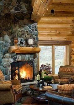 River Rock Fireplaces Rock Fireplaces And Fireplace Surrounds On Pinterest