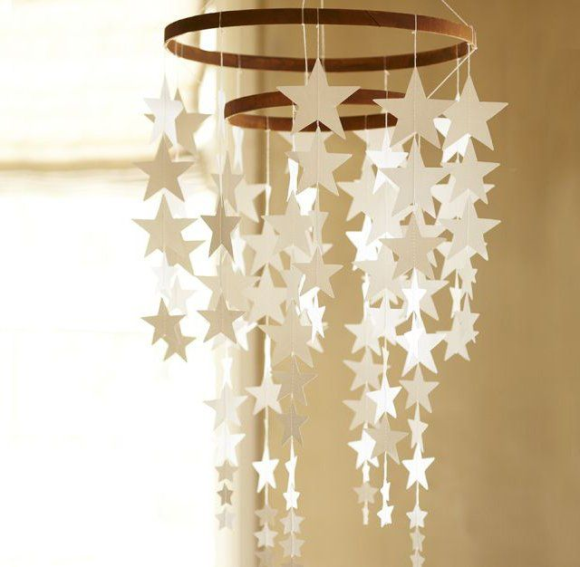 Fancy - Hanging Star Decor — Make a smaller version to hang from your shelf or lofted bed. Could sub out the stars for any shape, or a combo of shapes.
