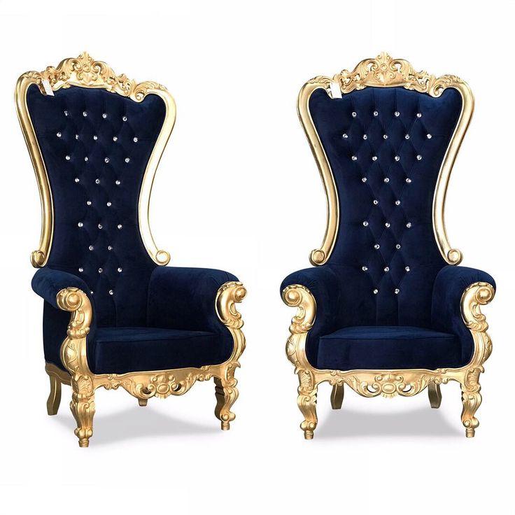 Gold leaf midnight blue velvet victorian style