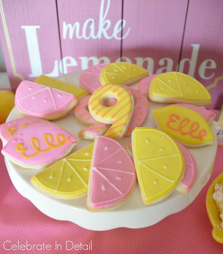 Love these cookies at a pink lemonade birthday party! See more party ideas at CatchMyParty.com!