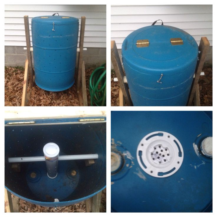 """Tumbling composter that I made from mostly spare parts laying around the house. There is a 3 inch PVC pipe with 3/8 inch holes for ventilation mounted to a toilet flange on the bottom. Holes on the outside are 3/8 inch and spaced about 4-5 inches apart in a grid pattern. Nothing was really measured and kinda just """"eyeballed"""" but it works fine and spins easy enough that my 4 year can spin it."""