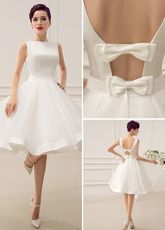 Cut Out Backless Satin Short Wedding Dress with Bow Decor Sash - Milanoo.com