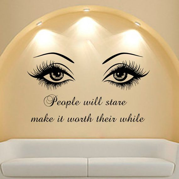 Wall Decal Quote Beauty Salon Make-Up Girl Woman Decals Vinyl Sticker Wall Decor Bedroom Window Art Mural MN550