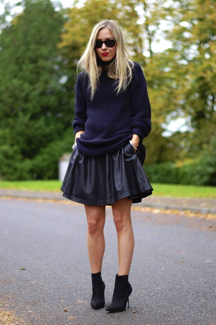 Best 25  Black knit ideas on Pinterest | Black leather skirt ...