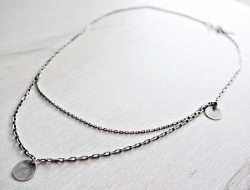 KSZU- Double Silver Chain Necklace [pr925]