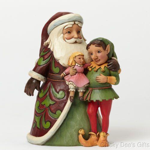 Jim Shore Santa w Elf 4044517 Christmas Tidings for Toyland NEW