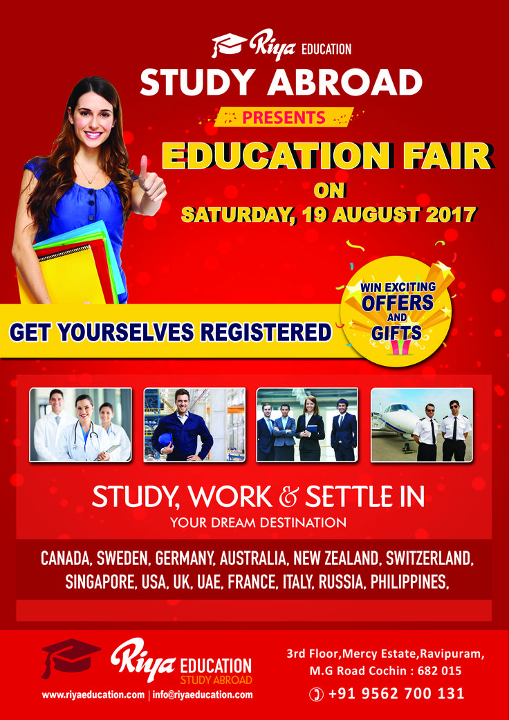 EDUCATION FAIR @ RIYA EDUCATION !!!!!!! Riya Education presents Education Fair on Saturday, 19th August 2017. Get yourself registered at the earliest to study, work and settle in your dream country.  For details visit our nearest website http://riyaeducation.com/contact/ #educationfair2017 #educationabroad #studyabroad #overseaseducationfair