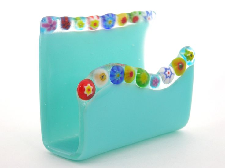 Business card holder with millefiori accents by WoodAndGlass
