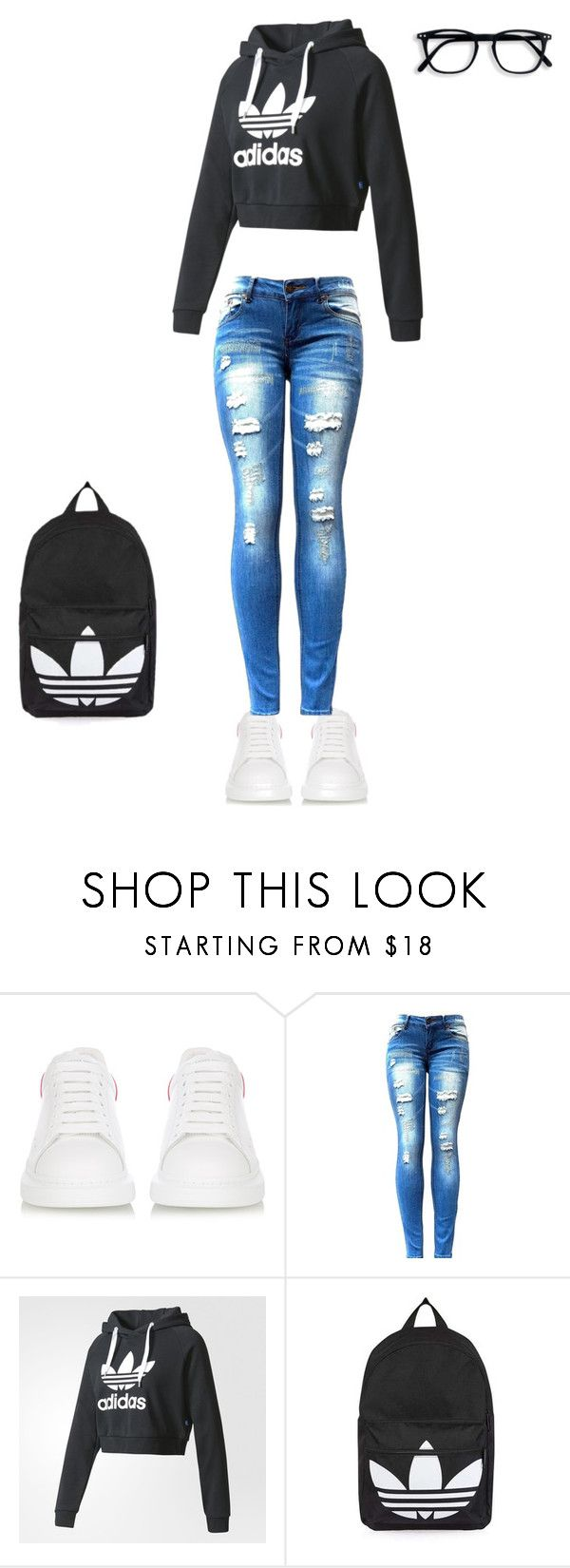 """""""By Raè"""" by jmariwillis25 ❤ liked on Polyvore featuring beauty, Alexander McQueen, adidas and Topshop"""