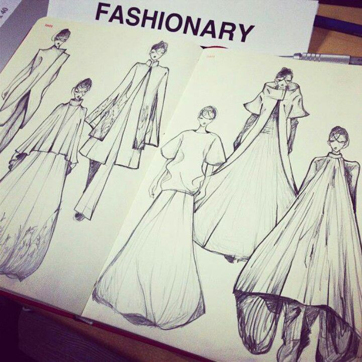 Sketching for Gareth Pugh AW 2014 on Fashionary A5 Women Sketchbook. Like those lines!