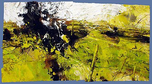 David Tress - 'Green Winter', mixed media on paper, 73x111cm, 2008