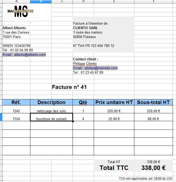 Exemple tableau facture autoentrepreneur excel en gratuit