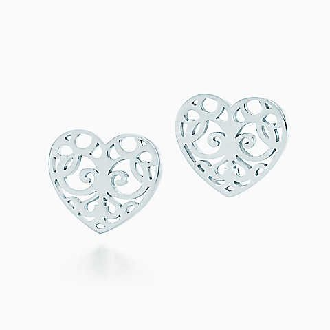 Tiffany Enchant® heart earrings in sterling silver.