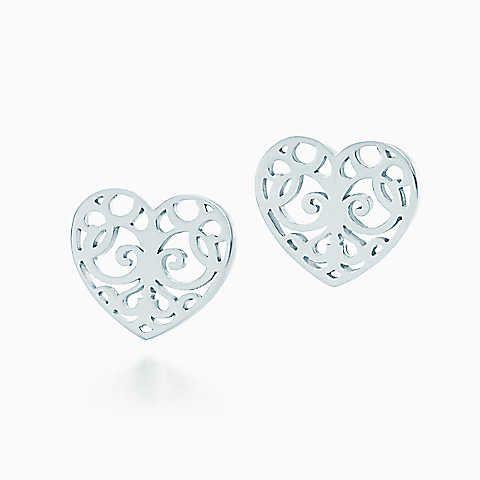 Tiffany Enchant® heart earrings in sterling silver.