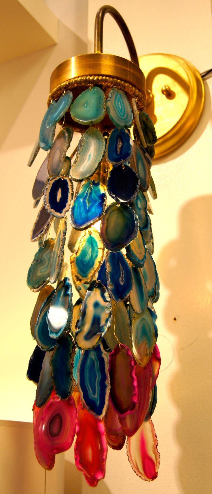 Dying over this beautiful clustered agate sconce from #RoShamBeaux  #Suites at Mkt Sq Salon G6014, G7045 #hpmkt Would you believe it's wired for outdoors too?  #lisamendedesign, #stylespotter