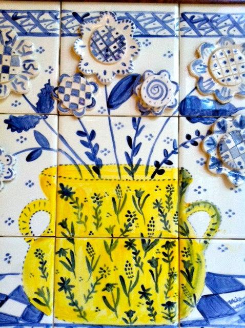 Blue and White Flowers Handpainted Tile Backsplash. $165.00, via Etsy.