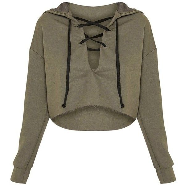 Saige Khaki Lace Up Cropped Hoodie found on Polyvore featuring polyvore, women's fashion, clothing, tops, hoodies, shirts, crop tops, hoodie shirt, crop top and lace up front shirt