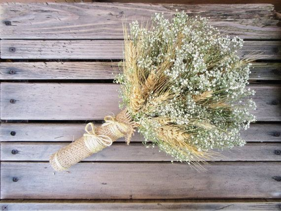 Option 2: Bridesmaid's bouquet - wheat & Baby's breath, may spray paint wheat gold, also gold instead of burlap, maybe.