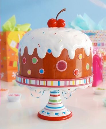 Glitterville Covered Birthday Pedestal Cake Plate Stand W/ Giant Cherry,  Large 15