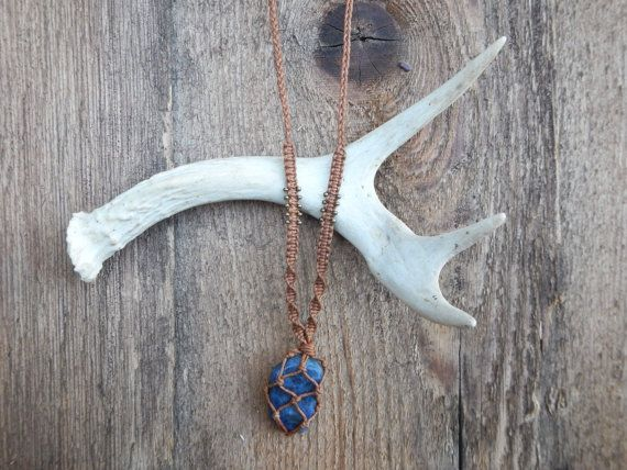 Handcrafted Sodalite Stone Necklace, Macrame Wrapped In Brown Cord.