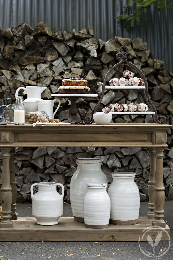Blanc Terracotta Jars and Tier Marble Cake Stand  http://www.frenchcountry.co.nz/