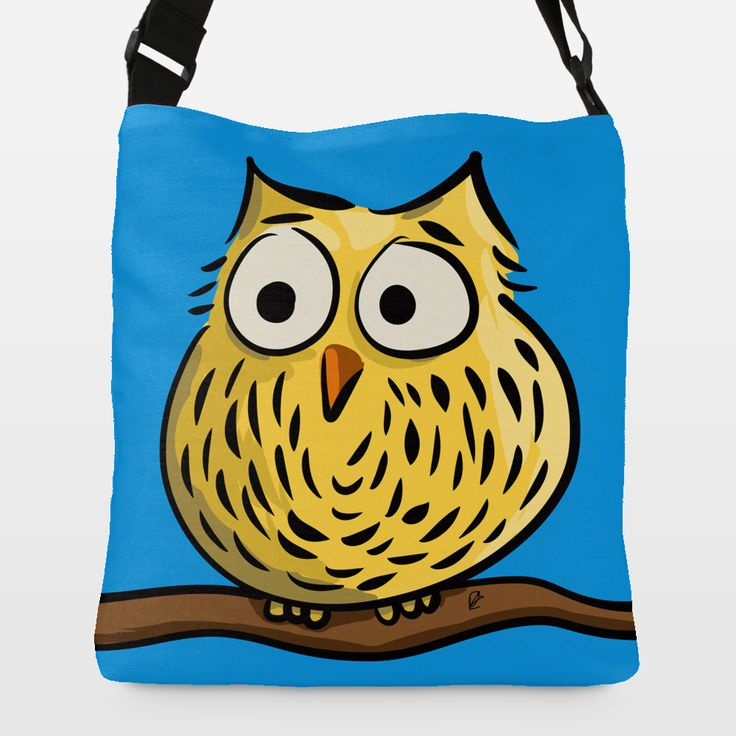 Cute owl design on a stylish spun polyester tote bag by Richard Eijkenbroek BoomBoomPrints.com! https://www.boomboomprints.com/Product/eijkenbroek/Cute_owl_sitting_on_a_branch/Adjustable_Strap_Totes/Large-_18x18/