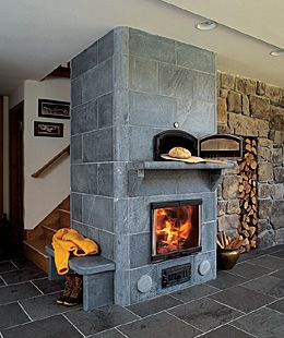 SOAPSTONE fireplace and wood storage  I don't like this in particular, BUT Soapstone holds heat for a loving time, something to think about!!!!!