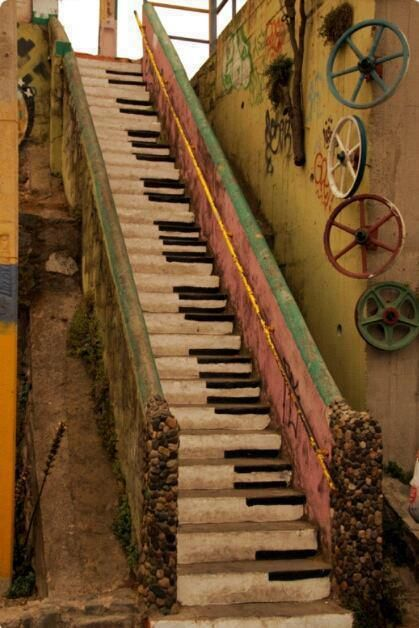 This piano key staircase is extraordinary.