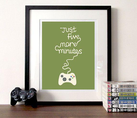 Gaming poster typografische afdrukken vijf door bearandrobotstudio