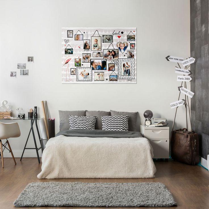 Inspiratie voor een fotocollage in de slaapkamer