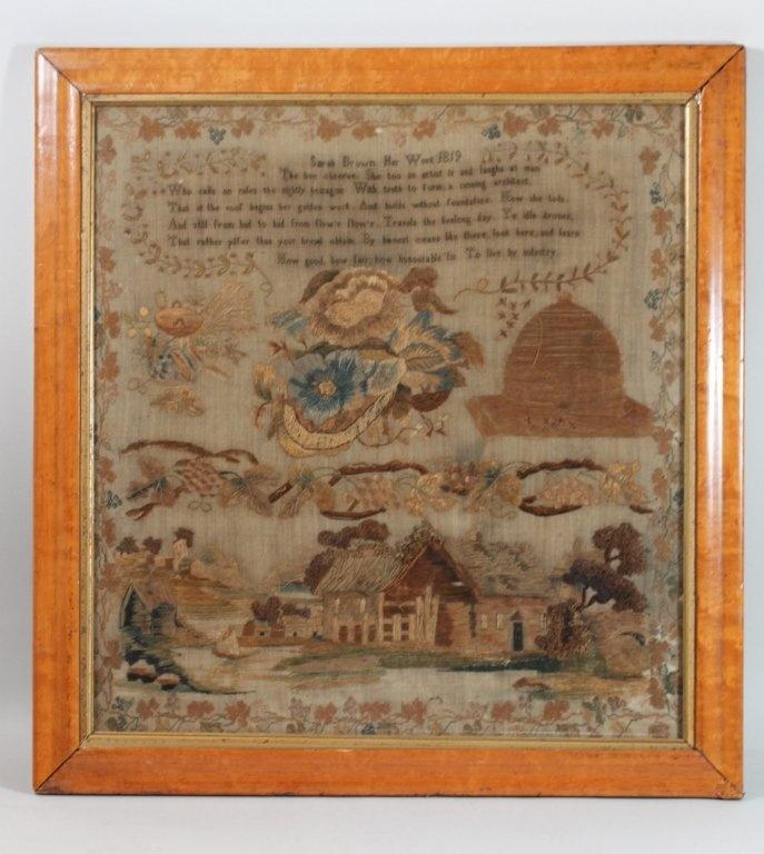 Beautiful Sampler by Sara Brown Dated 1819 : Lot 92