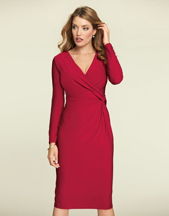 Twist Side Dress in Red by Bravissimo Clothing
