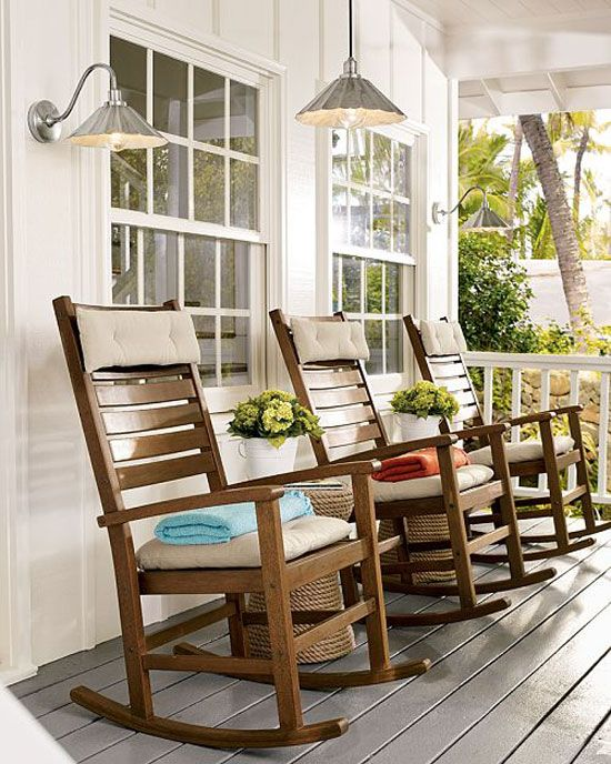 Porch Decorating Ideas: Wooden rocking chairs are perfect for visiting with the neighbors on the front porch.