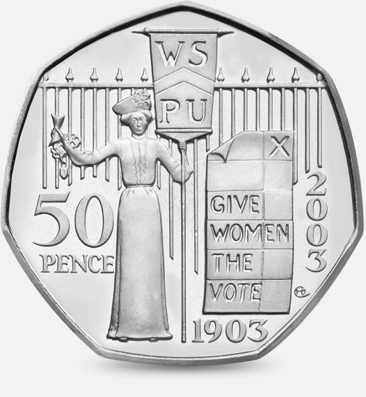 2003 100th Anniversary of the formation of the Women's Social and Political Union 50p #CoinHunt http://www.royalmint.com/shop/The_Great_British_Coin_Hunt_50p