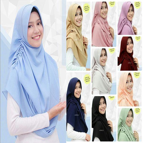 Hijab Pashmina Instan Sherina Model 2017 Harga Murah dengan variasi tali yang bisa dikerut sehingga menjadi rempel di bagian samping, praktis langsung pakai