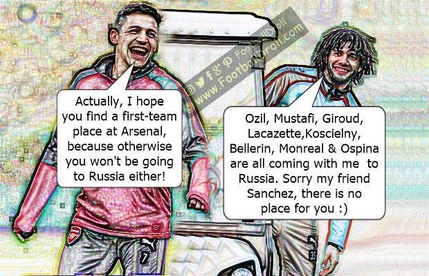 Mohamed Elneny Trolls Alexis Sanchez Over Chile's World Cup Absence #Elneny #Wenger #Sanchez #Chile #Arsenal #RealMadrid #CL #Suarez #Messi #Ronaldo #Neymar #Madrid #Barça #FCBarcelona #Bale #Jokes #Comic #Laughter #Laugh #Football #FootballDroll #Funny #CR7 #FCBLive #ForçaBarça #LaLiga #Guardiola