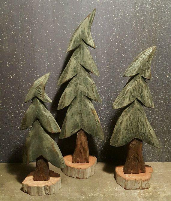 Pine Trees, Wind Blown Trees, Christmas Trees, Carved Trees, Hand Carved, Home Decor, Christmas Decor, Santa, Log Cabin, Primitives