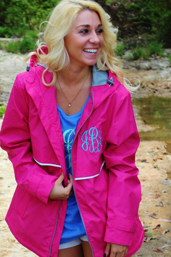 monogrammed charles river rain jackets  on sale  preppy  gift item  personalized clothing