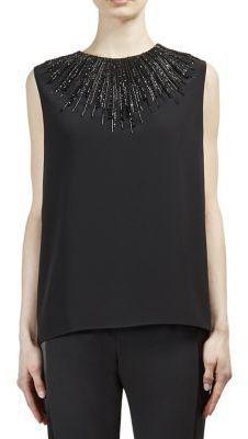 Lanvin Embellished Sleeveless Blouse