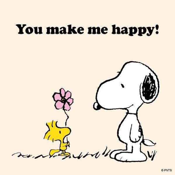 You Make Me Happy - Woodstock Handing Snoopy A Flower, Radiserne, Peanuts, cartoon, toon, love
