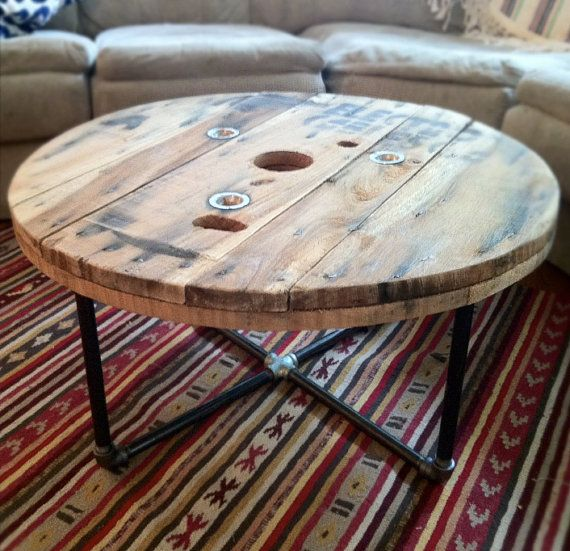 Reclaimed wood spool table by TheArticle on Etsy, $260.00
