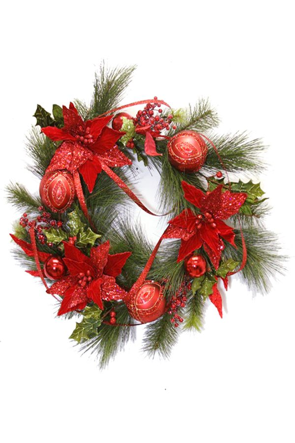"Item 43335. Pre-made 28"" wreath with poinsettias. We also have the entire line available in this style; 6' Graland (item 43336), and 32"" tear drop (item 43337)."