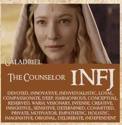 INFJ. Galadriel. Introverted. iNtuitive. Feeling. Judging. Also the Protector.