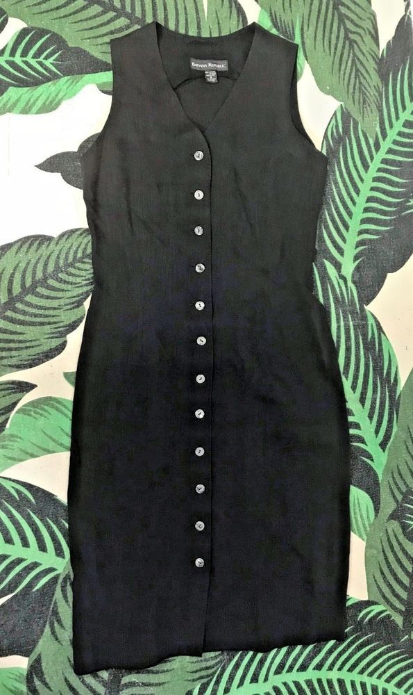 23ea8d57be Vintage 90s Banana Republic black linen button down midi dress Size ...