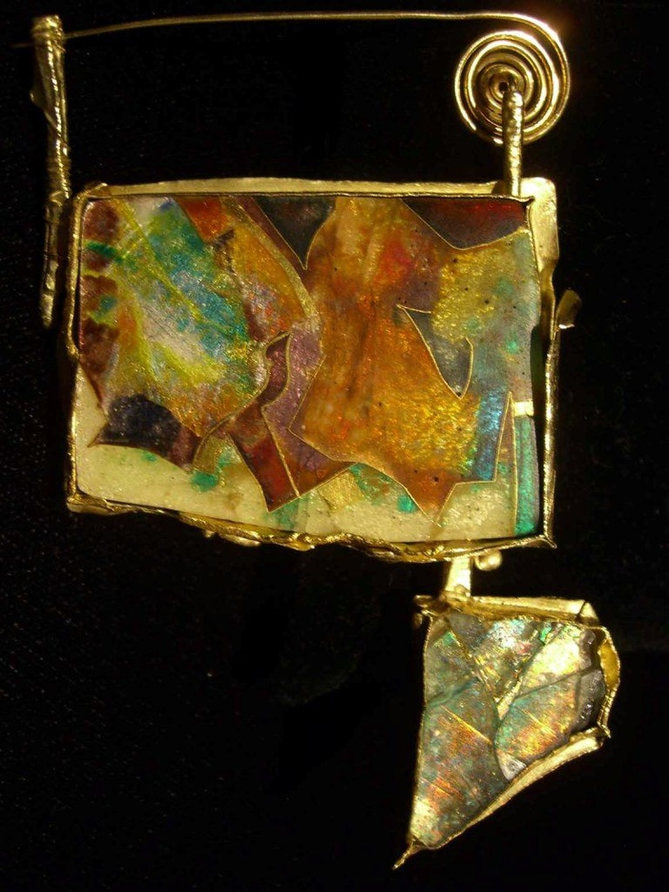 Brooch | William Harper.  Gold, Cloisonne, Enamel On fine Silver With 18, 22, And 24 KT Gold, Antique Glass