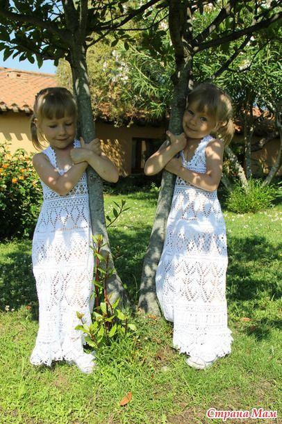 """Доброго времени суток, странамамочки! Такие вот сарафаны связались к лету для меня и моих близнецов. Ниточка """"Coco"""" (Коко), Vita Cotton, 100% мерсеризованный хлопок 240/50г."""