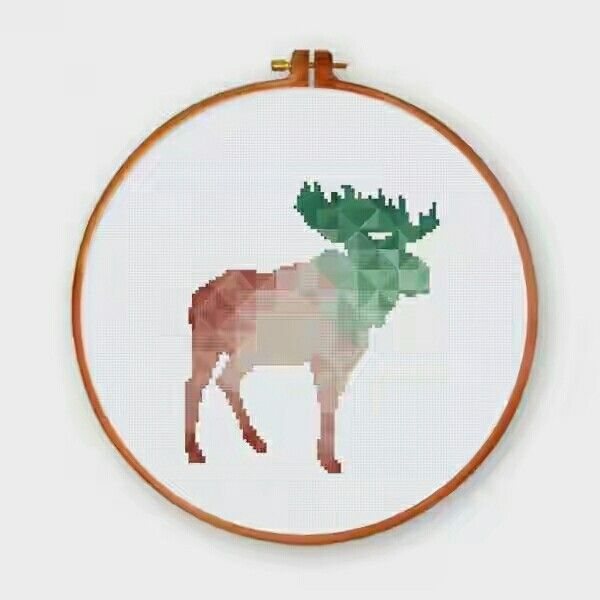 A spring moose cross stitch pattern I love this geometric design by ThuHaDesign